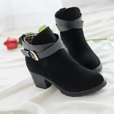 Women Low Heel Ankle Boots Winter Martin Snow Botas Warm Heels Boot Shoes S4