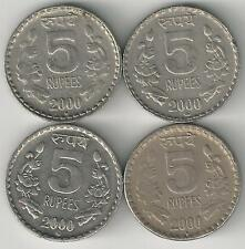 4 DIFFERENT 5 RUPEE COINS from INDIA (ALL 2000 with MINT MARKS of B/H/N/R)