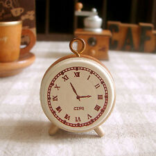 Charming Wooden Rubber Stamp Seal Classic Alarm Clock For Diary Scrapbook UKMW
