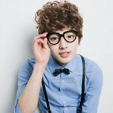 New Fashion Mens Brown Wig Short Wavy Curly Frizzy Hair Daily Cosplay Brown Wig