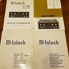 ORIGINAL MCINTOSH C28 PREAMP MANUAL SERVICE INFO AND BROCHURES