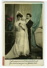 c 1910 Marriage WEDDING BRIDE Beauty Glamour tinted French photo postcard