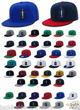 LOT 100 Blank Flat Bill Snapback Caps Hats Solid Two Tone DECKY WHOLESALE BULK
