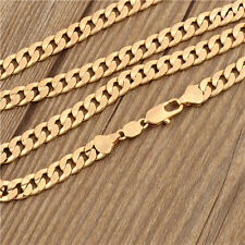 Cool 18K Yellow Real Gold Filled Embossed Mens Curb Chain Necklace,24 Inch