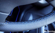 FITS VW POLO MK4 9N 9N3 PERFORATED LEATHER STEERING WHEEL COVER BLUE STITCHING