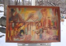 "MID CENTURY MODERN ABSTRACT OIL PAINTING ""THE BRIDGE"" BEVERLY YVONNE INGRAM"