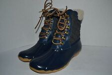 Sperry for J CREW Wool Lined SHEARWATER NAVY/CHARCOAL DUCK BOOT SNOW RUBBER 11 M