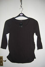 Black Stretch Maternity Top Cotton Rich 3/4 Sleeves George Size UK 8 EUR 36 BNWT