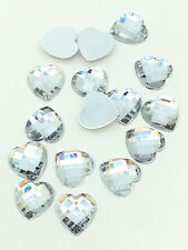 New 100pcs Resin Faceted Heart Crystal 10mm Flatback For DIY Phone Crafts White