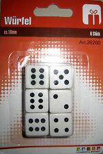 12 Stück Spielwürfel Würfel ca16mm weiß schwarz Spielwürfel 26260