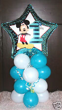"18"" FOIL BALLOON  TABLE DECORATION DISPLAY MICKEY MOUSE 1ST BIRTHDAY AGE 1 T/W"
