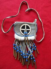 NATIVE AMERICAN BEADED LEATHER BAG, TOBACCO OR MEDICINE POUCH, #PORT Z-262