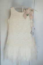 NWT Girl's Ivory Crochet Bodice Special Occasion Designer Dress, Size 8