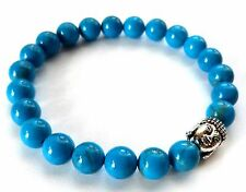 BEAUTIFUL TURQUOISE HOWLITE BEAD BRACELET WITH SILVER BUDDHA - HEALING / REIKI