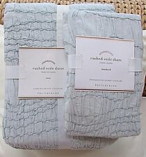 POTTERY BARN RUCHED VOILE TWIN DUVET & STANDARD SHAM, ICY BLUE