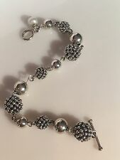 Michael Dawkins Sterling Silver Granulation Bead Pearl Bracelet Toggle Clasp