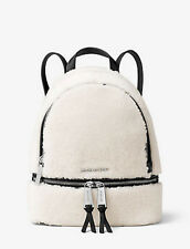 Michael Kors RHEA Zip Backpack Shearling & Leather Small Bag ~Natural NWT