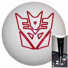Transformer Decepticon White Red shift knob Dodge Chrys Jeep Auto w/ Blk Adapter