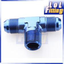 """AN8 AN -8 3/8"""" NPT FLARE Tee T-piece fitting adapter Aluminum  BLUE"""