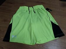 bnwt-mens under armour shorts-running-zipper pocket in back-yellow-black-large