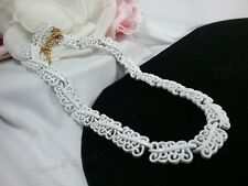 Vintage Gold Monet White Enamel Lace Collar Open Design Panel Modernist Necklace