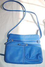 NWOT Tignanello blue pebblied leather Crossbody Bag Zip Organizer