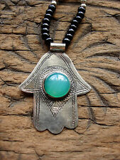 Hand engraved  Niger smalll Hand pendant with green  jewel + black agate beads