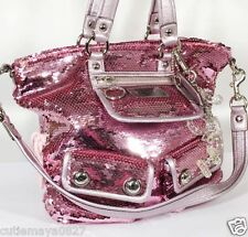 AUTH COACH POPPY PINK  SEQUIN SPOTLIGHT TOTE BAG  RARE !