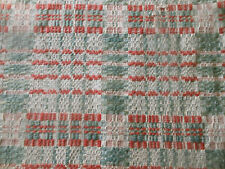 Antique 19thC Primitive Loomed Wool Coverlet Pc. ~ Soft Gray Green Salmon Red ~