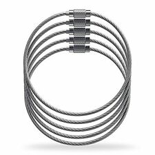 Luggage Tag Loops - Stainless Steel Metal Wire Straps (5 pack)