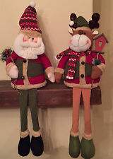 Santa & Reindeer Set Sitting On There Own Christmas Decoration Ornament Set 165