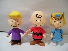 """LOT OF 3 PEANUTS 3"""" ACTION FIGURES ANGEL SALLY CHARLIE BROWN & SCHROEDER"""
