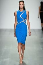 New David Koma Blue Mesh Insert Cut Out Dress uk 12