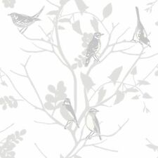 NEW LUXURY RASCH SILVER SONGBIRD BIRDS TREES BRANCHES MOTIF METALLIC WALLPAPER