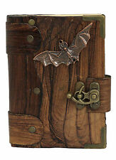 Flying Bat Pendant Brown Leather Journal Diary Notebook Vintage Style Art