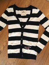 Hollister Size Small Navy and Off White Striped Long Boyfriend Cardigan sweater