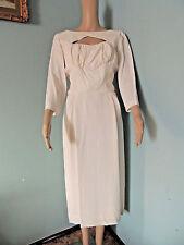 Vintage 1940s 1950s HOLLYWOOD Designer DON LOPER WIGGLE DRESS off White