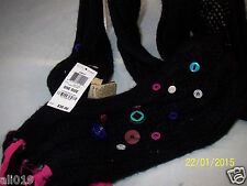 AMERICAN RAG Crafty Scarf - Classic Black Hot Pink Accents & Buttons New w/ TAGS