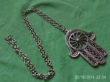Moroccan Berber African Jewelry: Striking Hamza Necklace 'Rope Wheel' Design