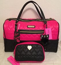 Betsey Johnson Weekender Be Mine Quilted Hearts Fuchsia Duffle Bag and Case NWT