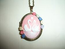 NECKLACE PENDANT 30x40mm SWAN RESIN CAMEO PICTURE LOCKET PORCELAIN FLOWER