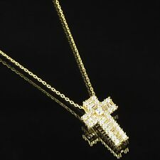 Princess Cut Solitaire Cross Pendant 14k Gold Over Sterling Silver Necklace Set
