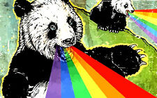"3.25"" Funny Panda Rainbow  STICKER. Enjoi skateboard. Good for glass bong, pipe."