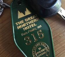 "New!  Green and Gold TWIN PEAKS inspired ""Great Northern Hotel"" keytag, keyfob"