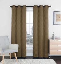 "Two (2) Mocha Window Curtain Panels: 76"" x 84"", Grommets, IKAT Diamond Design"