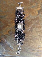 Women's White House Black Market Wrist Black/Gray Beaded Victorian Look Watch