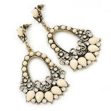 Cream Acrylic Bead, Clear Crystal Chandelier Earrings In Gold Tone - 75mm L