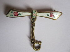 RETRO c.1940s STERLING SILVER & GUILLOCHE ENAMEL BOW BROOCH FOR WATCH, LOCKET...