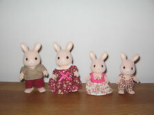 Sylvanian Familes Champagne Rabbit family, Mum, Dad, son & daughter dressed