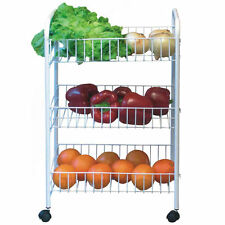 NEW 3 TIER VEGETABLE FRUIT RACK WHEELS STORAGE TROLLEY STAND CART KITCHEN WHITE